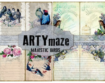 MAJESTIC Birds Printable Journal Kit  INSTANT DOWNLOAD