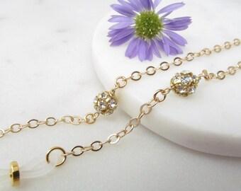 Gold Eye Glasses Chain with Swarovski Crystal Balls, Glasses Lanyard, Reading Glasses Chain, Eyeglass Chain, Cord for Readers, Kalxdesigns