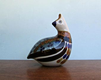 Mateos Partridge-Quail Figure, Tonalaware Studio Arts Movement Mid Century Jalisco Mexico