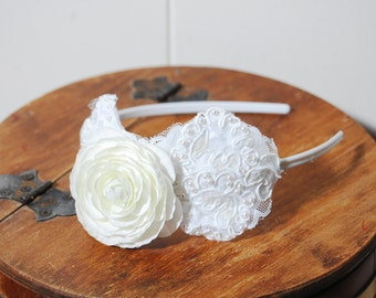 Vintage Upcycled Lace and Cream Silk Rose Headband