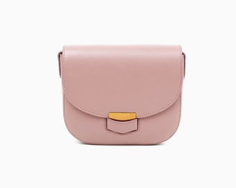 Pink Leather crossbody bag pink leather bag leather shoulder bag handmade leather bag women's pink leather bag everyday bag purse leather
