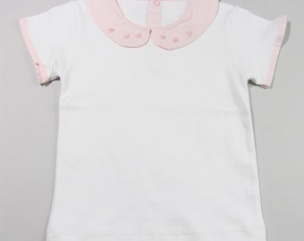 Baby Girl Toddler White Pink Pima Cotton Top Tee with Peter Pan Collar and Rose Hand Embroidery -18m