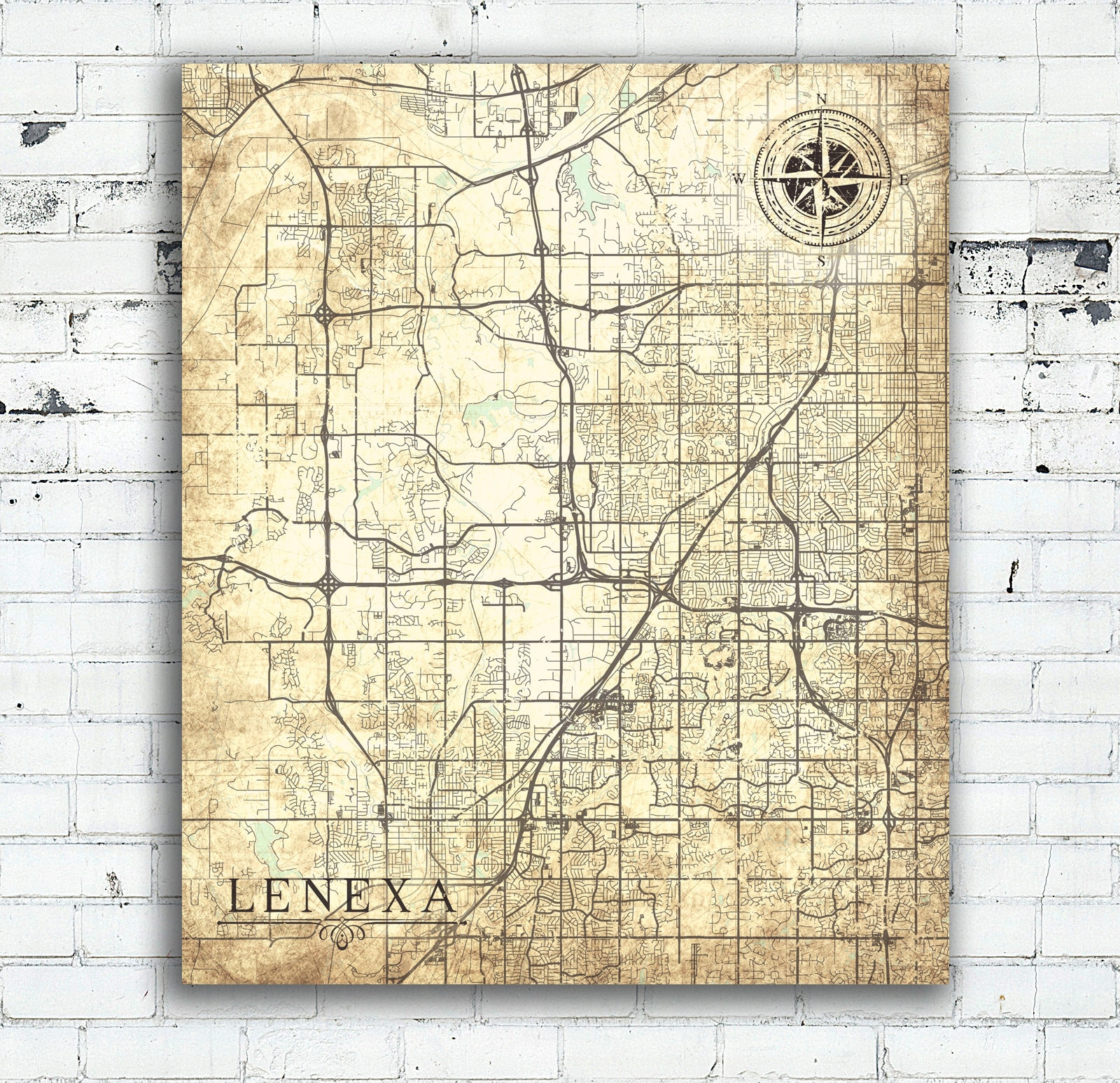LENEXA KS Canvas Print Kansas Town City Vintage map Vintage Map Wall ...