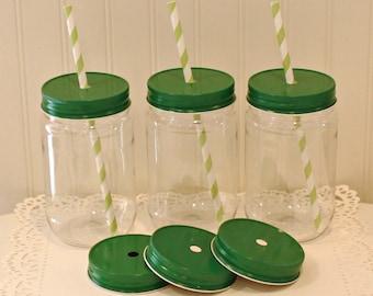 "Plastic Mason Jars, 10 Plastic Mason Jars with Metal Straw Hole ""SPILL PROOF"" Jar Lids, Mason Jar Straw Lids,Wedding Favors, Baby Showers"