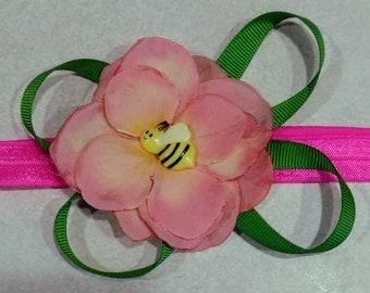 Pink Hydrangea Elastic Headband (pink)