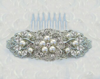 Pearl Bridal comb, Wedding hair clip, ivory pearl & silver, Vintage style, Wedding Comb, Decorative comb, wedding accessories, Crystal  Clip