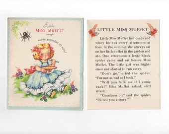 Child's Birthday card from the '40s or '50's featuring Miss Muffet and her spider