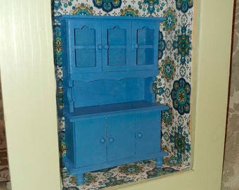shadow box blue hutch cupboard project needs finishing or redesign