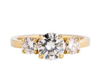 Moissanite Three Stone Engagement Ring, 1.5 tcw Moissanite Engagement Ring, 14K Gold Three Stone Ring