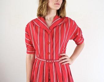 Vintage 1940s Dress • 40s Dress • 1940s Day Dress • 40s Cotton Dress • Striped 40s Dress • 1940s Red Dress • Dolman Sleeve Dress • 50s Dress
