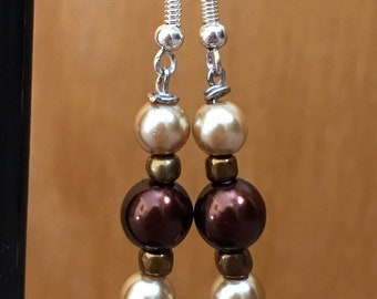 Gold, Brown, and Bronze Beaded Drop Earrings, Gold Brown Drop Earrings, Gold Brown Beaded Earrings, Gold Bronze Brown earrings,