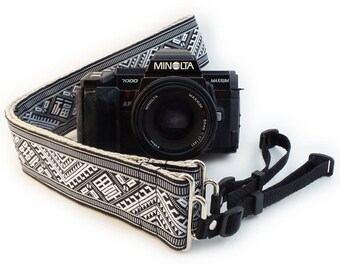 Camera Strap - Black and White Geometric Woven Ribbon on Organic Hemp Webbing and Webbing ends - works with DSLR, SLR and Manual Cameras