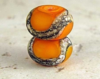 Glass Lampwork Bead Pair with Organic Silvered Ivory Web and Etched Frost Finish Small 11x7mm Orange Velvet