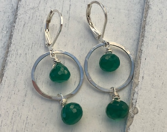 Simple sterling silver hoops with green onyx.