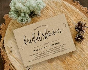 Bridal Shower Invitation Template | Editable Invitation Printable | Wedding Shower Kraft Calligraphy Invite | No. PW 5332