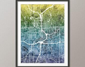 Atlanta Map, Atlanta Georgia City Street Map, Art Print (1806)