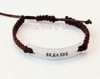 Macramé bracelet, woven cotton, handstamped, BREATHE, custom bracelet, personalised jewellery, jewelry, yoga inspired, friend gift, hippy