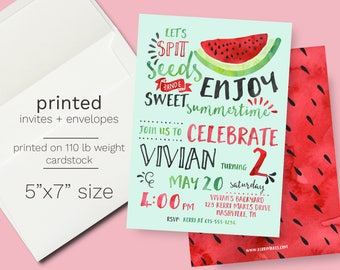 Watermelon Birthday Invitation - PRINTED One in a Melon Party Invite Summer Theme Birthday Party Melon Invite Fruit Birthday