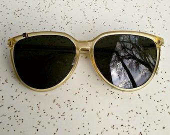 Vintage Calvin Klein sunglasses / wayfarere style / dark sunglasses / large retro round 80's eyeglasses
