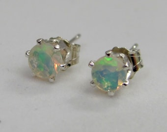 Ethiopian Welo Opal Post Earrings, 4mm Faceted Opal Gemstones, Opal Stud Earrings, October Birthstone, Wedding Jewelry, Sterling Silver