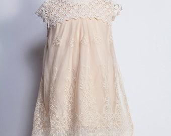 Girls dress,ivory girls dress,modest girls dress,long flower girl dress,cream flower girl dress,ivory lace dress,victorian girls dress