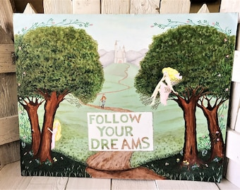 Fairy painting original altered upcycled fairytale landscape  castle inspirational message/ free shipping US