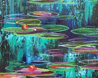 Water Lilies #04 Original Painting 10 x 8 inch Oil Painting