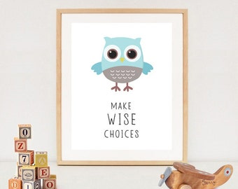 Owl wall art - Blue owls wall decor - Printable baby nursery decor - INSTANT DOWNLOAD