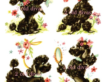 Fancy Frenchie Poodles Waterslide Decals Boudoir Bathroom Girlie! Paris Retro Mid-Century