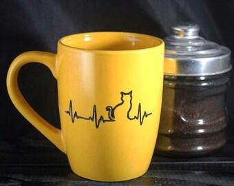 Cat Lover Mug - Feline Mug - Coffee and Tea Cup - Ceramic - Etched
