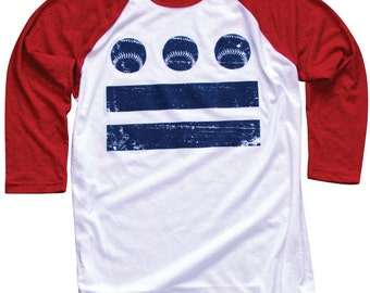 Red White and Blue DC Baseball Flag Raglan - large