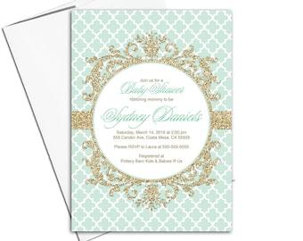 mint gold baby shower invitation gender neutral | gold mint invitations printable baby shower invites neutral - WLP00792