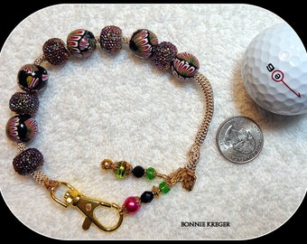 Golf Stroke Counter with Handmade Beads and Bling