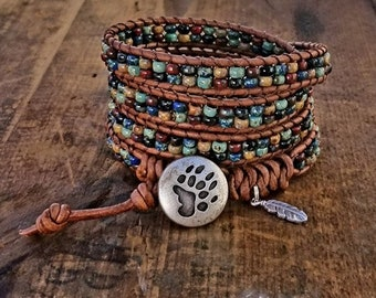 Seed Bead Leather Wrap Bracelet Beaded Leather Wrap Bracelet Womens Jewelry Bohemian Jewelry Boho Bear Claw Button Feather Charm