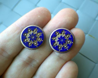 Vintage Cobalt Blue and Gold Earrings - Stud Style - Reclaimed Buttons.