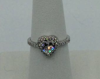 Silver .925 Heart 2 Carat Total CZ Engagement Ring Size 7 ON SALE!!!