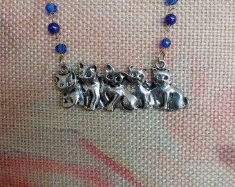 Row of Silver Kittens Necklace