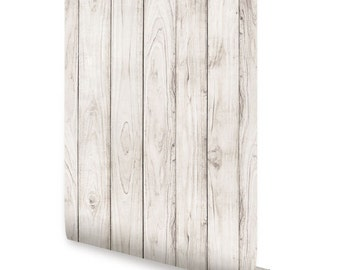 White Wood Self Adhesive Fabric Wallpaper Repositionable
