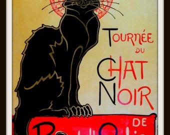 CHAT NOIR Poster - Black Cat Poster - French Wall Art - Cat Lover Poster - Vintage Poster ~ Belle Epoch ~ Montmartre ~ Tournee du Chat Noir