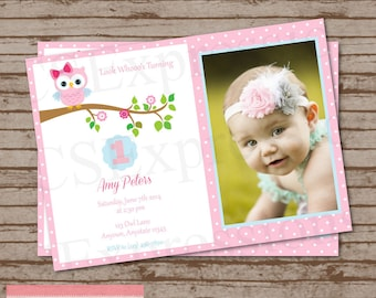 Pink Polka Dot Owl Photo Birthday Invitation
