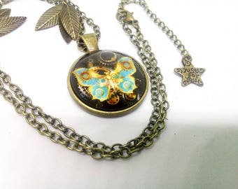 steampunk, butterfly and vintage gears necklace