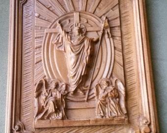 Original Carved Wooden Plaque of Victorious Jesus