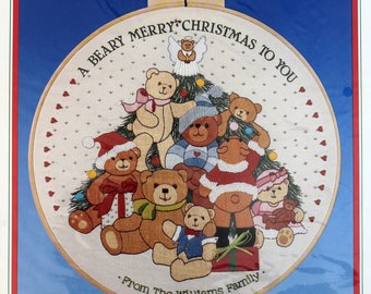 Teddy Bear Beary Merry Christmas Crewel Kit Dimensions Wall Hanging Picture Personalized Bears Gathered Around the Tree Vintage 1986