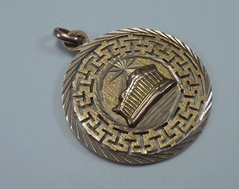 "8K (Marked 14k) Yellow Gold ""Greek Parthenon"" Pendant"