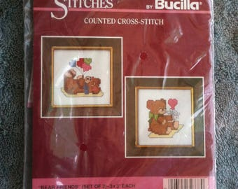 Bucilla Counted Cross Stitch Kit Bear Friends Gallery of Stitches Nursery Decor Babys Room  h3