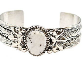 Men's White Buffalo Stamped Bracelet