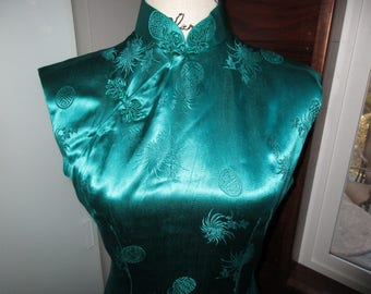 Sale! Full Length Emerald Green Cheongsam Wiggle Dress Size  Large Made in Hong Kong by Angel Company Vintage 14