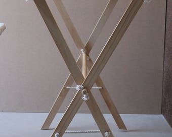 Wooden and Rope Child Clothes Airer. Washing Role Play Toy.
