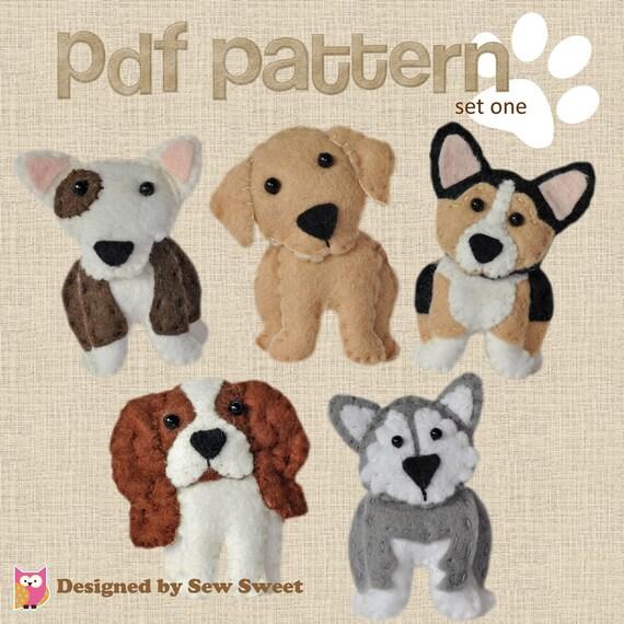 cute plush Dogs sewing patterns set One pdf PATTERN sew