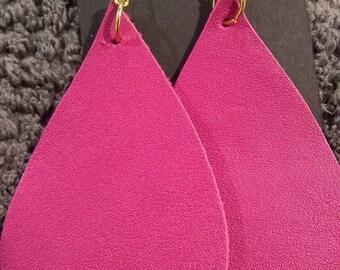 Hotpink Leather Earrings
